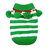 Hillento Traje de Punto de suéter de Navidad Mascota con Cuello y Bolas para el Invierno para el Gato Perrito pequeño Perro, Verde y Blanco