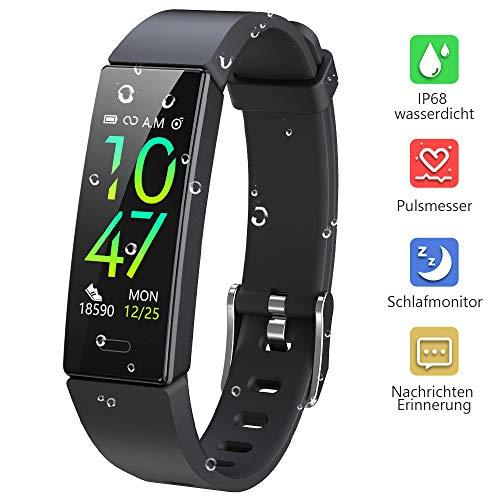 Dwfit Fitness Uhr mit Pulsmesser,Wasserdicht Fitness Armband Aktivitätstracker Fitness Tracker Schrittzähler Uhr Sportuhr für iOS Android Handy(Schwarz)