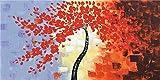 WIOIW Abstracto 3D Lucky Red Tree Flower Leaves Sunset Bench Paisaje Lienzo Pintura Escandinava Arte de la Pared Poster Imagen Sala de Estar Dormitorio Oficina Decoración del hogar