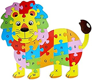 Wooden Jigsaw Puzzle,Lion English Letters Puzzle Game Educational Toy Kit for Kids,26pcs
