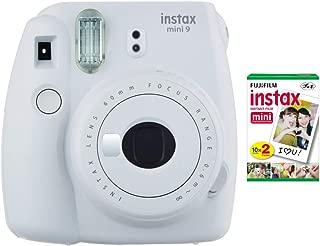 Fujifilm instax Mini 9 Instant Camera (Smokey White) with Film Twin Pack Bundle (2 Items)