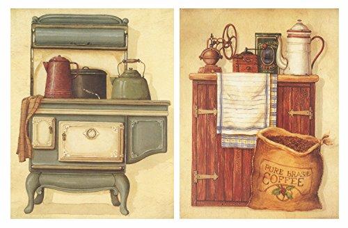 Cuadros de Cocina sobre Madera. Set de 2 Cuadros de 19 cm x 25 cm x 4 mm unid. Adhesivo FÁCIL COLGADO. Adorno Decorativo. Decoración Pared hogar