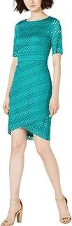 Jessica Howard Women's Dress Petite Sheath Asymmetric Hem Green 4P