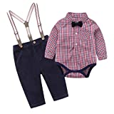 Tiepant Baby Boys Long Sleeve Outfit Suits Red Blue Plaid Romper Shirt with Bowtie + Gentleman Corduroy Suspender Pants Set 9-12M