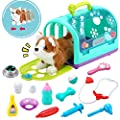 Sotodik 15PCS Electronic Vet Set for Kids,Walk and Bark Little Dog Pretend Play Doctor Playset Pet Care Role Play Early Educational Toys for Boys Grils Toddler 2 3 4 5 6 Years Old Gifts