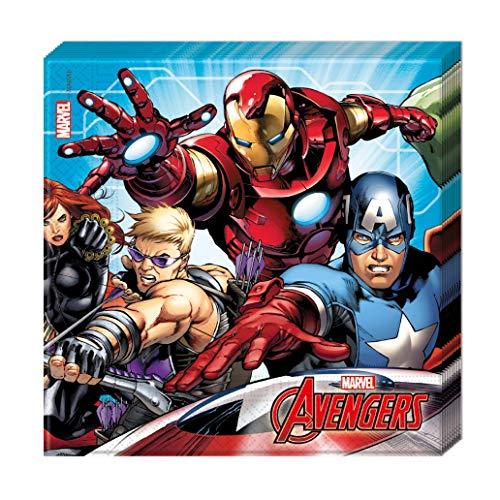 Procos 99991 87967 - Servietten The Avengers, 20 Stück, Größe 33 x 33 cm, Mundtuch, Kindergeburtstag, Partygeschirr, Tischdekoration