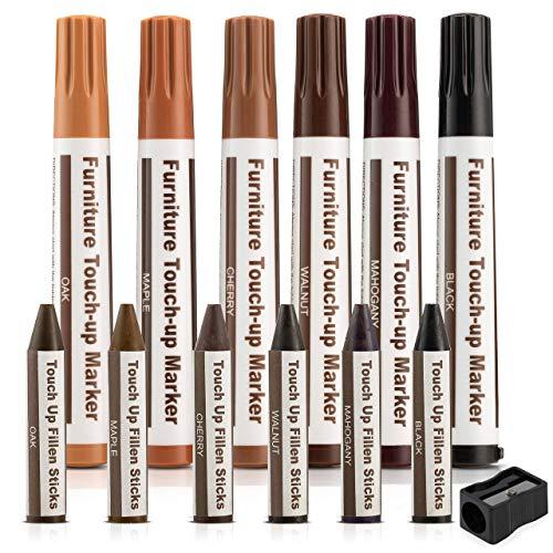 Escest - Set di 17 pennarelli per riparazione e ritocco dei mobili, kit di ripristino graffi, 8 pennarelli, 8 pastelli riempitivi a cera, 1 temperamatite