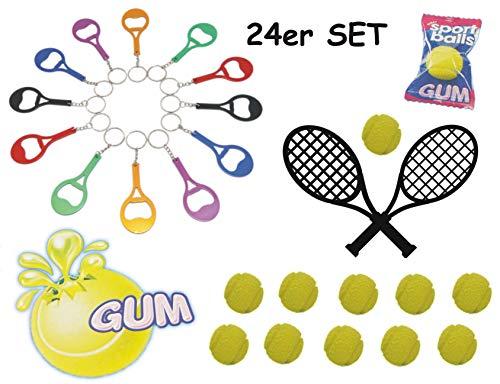 Schnäppchenladen24 🎾Kinder Tennis Set 12 X Tennisschläger + 12 Tennisball (Öffner / Kaugummi) 🎾
