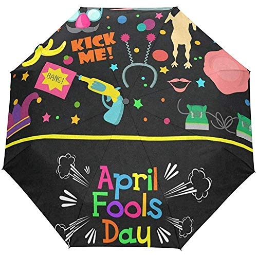 Umbrella Happy April Fools Day Golf Travel Sun Rain Windproof Auto Umbrellas with UV Protection for Girls Boys Kids