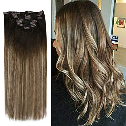 YoungSee 14inch Clip in Human Hair Extensions 120G Balayage Darkest Brown Fading to Medium Brown with Ash Blonde Remy...