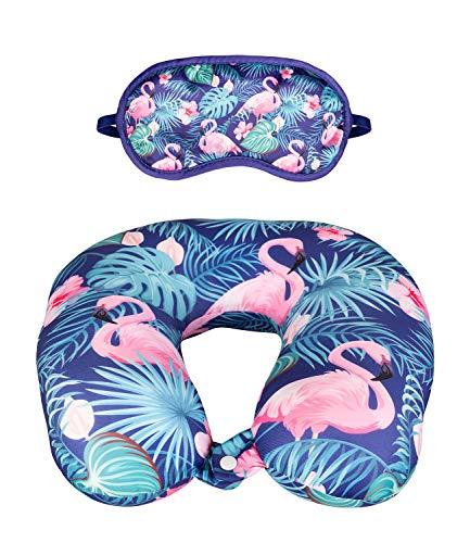 YSTRDY Nackenkissen- und Schlafbrillen-Set mit buntem Flamingoprint (129-737)