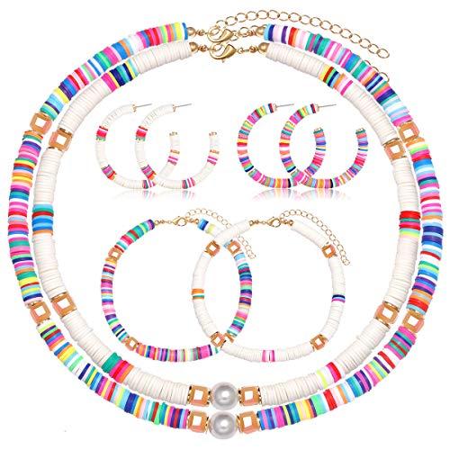 Urwomin Heishi Bead Necklaces Earrings Anklets Set Rainbow Vinyl Disc Beaded Surfer Choker Boho Colorful Bead Ankle Bracelets Large Hoop Earrings for Summer Beach Vacation (Multicolor+White)