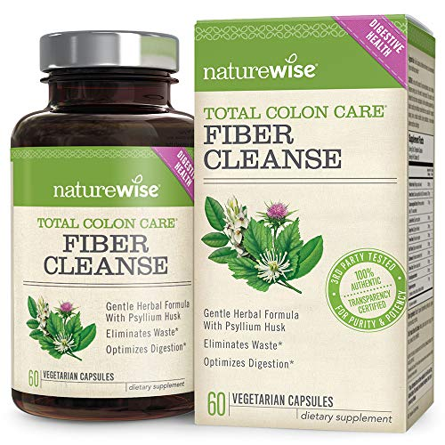 NatureWise Total Colon Care Fiber Cleanse with Safe Herbal Laxatives, Prebiotics, & Digestive Enzymes for Healthy Elimination, Safe Digestion & Weight, Detox, & Gut Health [1 Month Supply - 60 Count]