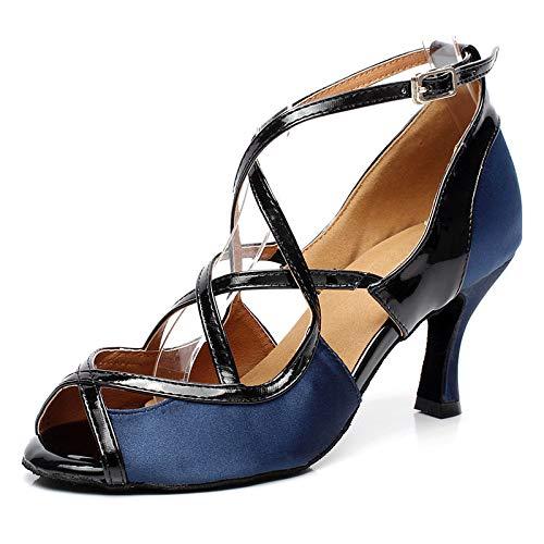 SWDZM Zapatos de Baile Latino para Mujer Tango Salsa Samba Bachata Baile de Salón Zapatos,Tacco-7.5cm,Modelo-6180,Azul, 4UK/37EU