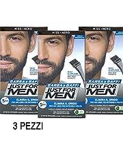3 X JUST FOR MEN BARBA Y BAFFI COLOR TINTURA PERMANENTE CON PINTURA NEGRO M 55 GEL COLORANTE 2 X 14 G