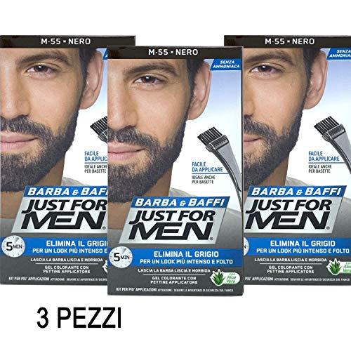 Just for Men - Lot de 3 colorations permanentes, teinture, gel colorant pour barbe et moustaches avec brosse, noir M 55, 2 x 14 g