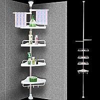 Deuba Estanter/ía telesc/ópica de ba/ño ducha Blanca estantes de esquina ajustables 155-290 cm Organizaci/ón toallas jab/ón