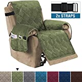 H.VERSAILTEX Recliner Sofa Slipcover Slip Resistant Quilted Velvet Plush Recliner Cover Furniture Protector Seat Width Up to 28' Couch Shield 2' Elastic Straps Recliner Slipcover Loden
