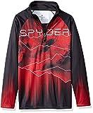 Spyder Boys' Limitless Rising Half Zip T-neck Shirt, Black/Red/Black, Large