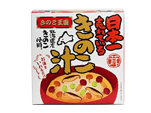 日本一売れているきのこ汁(1人前)北海道大滝産3種のキノコ(しめじ、なめこ、椎茸)を使ったきのこの味噌汁(きのこ王国こだわりの原料の茸のみそ汁)お湯を入れるだけの容器付インスタントみそ汁