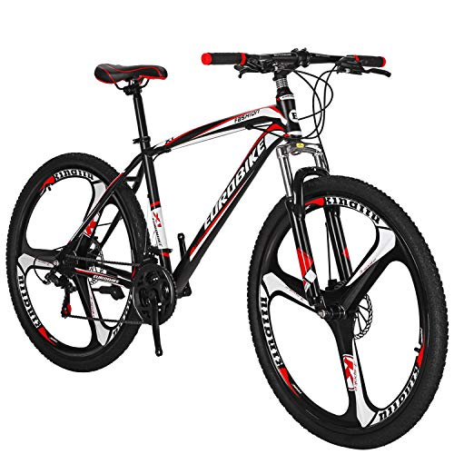 Eurobike OBK 27.5 wheels Mountain bike Daul Disc Brakes 21 Speed Mens Bicycle Front Suspension MTB (Red Mag wheels)