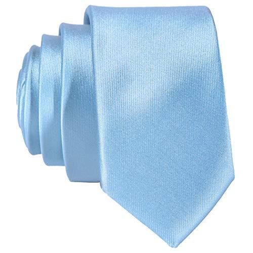 DonDon schmale hellblaue Krawatte 5 cm