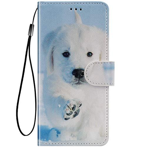 Felfy Kompatibel mit Huawei Honor V20 / View 20 Hülle Bunte Painted Muster Schutzhülle,Handyhülle für Honor View 20 Magnet Flip Case PU Lederhülle Tasche mit Kartenfach/Standfunktion - Hund