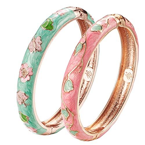 UJOY Cloisonne Bracelet Butterfly Gold Hinged Indian Bangles Flower Enamel Jewelry Bracelets Gift for Women 55A61-55A67 Pink Green