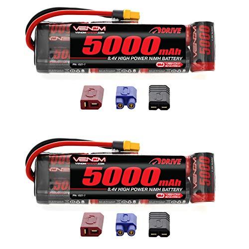 Venom 8.4V 5000mAh 7-Cell NiMH Battery Flat with Universal Plug (EC3/Deans/Traxxas/Tamiya) x2 Packs