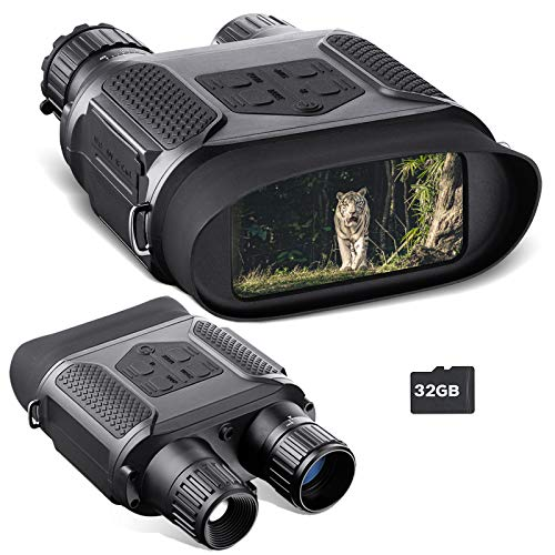 Night Vision Binocular for Adults, 7x31mm HD Digital Infrared Zoom Widescreen Night Vision Scope Camera & Goggles, with 32GB TF Card, 1300ft/400M Night Vision Binocular for Hunting Adventure Camping