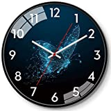 JJDSN Reloj de Cuarzo Grande, Relojes Colgantes de Pared de Dibujos Animados, Reloj de Pared con patrón de Mariposa, Reloj de Pared Digital árabe, Reloj de Pared Blanco y Negro, Uso Familiar