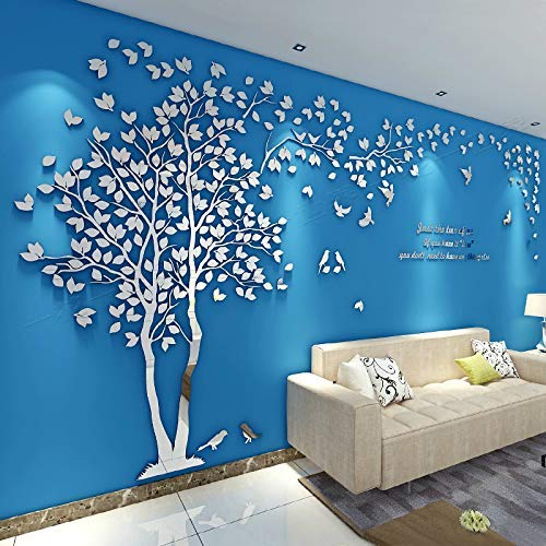 KINBEDY Acrylic 3D Tree Wall Stickers Wall Decal Easy to Install &Apply DIY Decor Sticker Home Art Decor. Tree with Silver Leaves, Left XL.