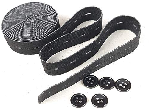 Buttonhole Elastic Band 3/4 Inch x 3 Yards (2.7 Meter) with 15 mm Resin Buttons x 5 Pcs Spool Expanded Adjustable for Clothing Jean Pant Skirts Wigs Craft Sewing Elastic Garment (Black)