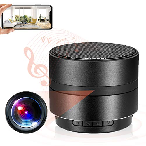 WiFi Hidden Camera Wireless Speaker Spy Camera, 1080P Bluetooth Music Speaker Nanny Camera with Motion Detection/ Night Vision for Home Security Surveillance
