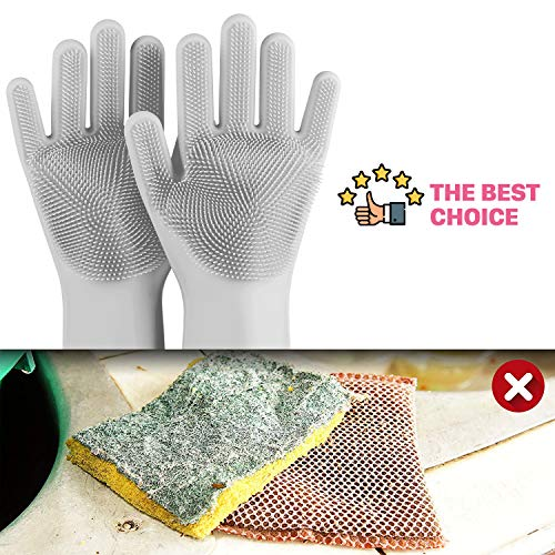 Product Image 4: anzoee Reusable Silicone Dishwashing Gloves, Pair of Rubber Scrubbing Gloves for Dishes, Wash Cleaning Gloves with Sponge Scrubbers for Washing Kitchen, Bathroom, Car & More (Gray) …