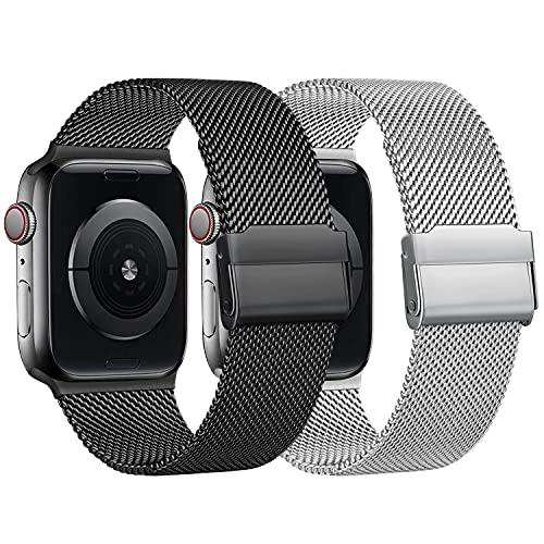 RMOS Kompatibel mit Apple Watch Armband 42mm 38mm 44mm 40mm, Mesh Gewebe Edelstahl Metall Schnellwechsel Armband kompatibel mit iWatch Series SE/6/5/4/3/2/1 (Schwarz&Silber, 38mm/40mm)