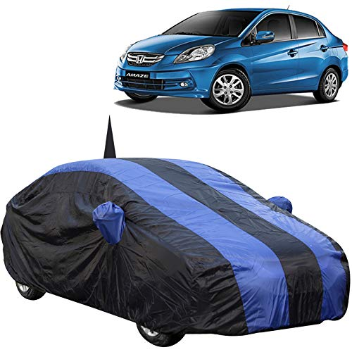 The Autostory 190T Water Resistant Car Body Cover Suitable for Honda Amaze (2011 to 2017) with Mirror & Antenna Pockets (Royal/Navy Blue)