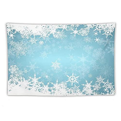 Manta Tapiz Para Colgar En Pared,Congelado Plata Nevado Navidad Copos de nieve Azul Frío Invierno Cae Blanco Escarchado Diseño Hielo, Estera Picnic Decoración Sala Estar,60x90'