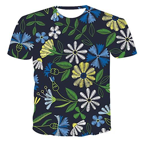 SSBZYES Camiseta para Hombre Camiseta De Talla Grande para Hombre Talla Grande para Hombre Manga Corta Exquisita Planta Pintada a Mano Tendencia De Impresión Digital Camiseta Manga Corta De Bricolaje