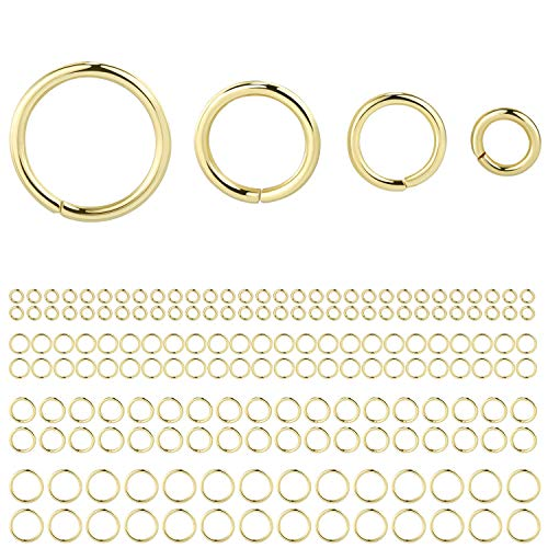 ALEXCRAFT 900Pcs Open Jump Rings Plated 14K Gold Jewelry Findings Kit for Jewelry Making,400pcs for 4mm,250pcs for 6mm,150pcs for 8mm,100pcs for 10mm