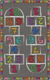 Flagship Carpets Hopscotch Rainbow Numbers Children's Classroom or Play Room Activity Area Rug, 5'x8', Rectangle