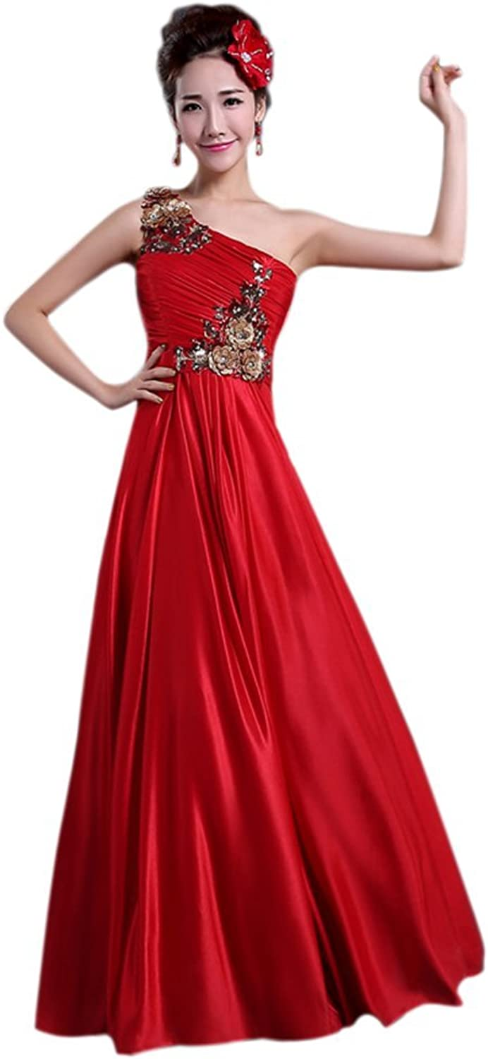 Women's One Shoulder Embroidery Prom Bridal Dress Empire Maxi Formal Gowns