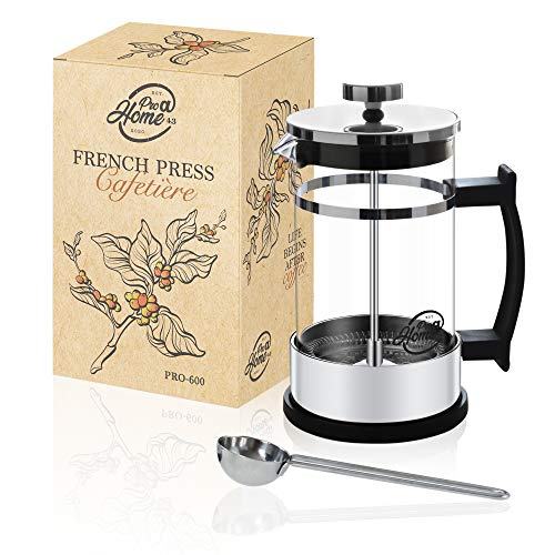 Pro@Home43 French Press Kaffeebereiter 0,6L (4 Tassen), Kaffeepresse, Cafetière, Kaffeezubereiter, Coffee Press aus Glas inkl. Edelstahl Dosierlöffel