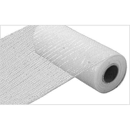 "10/""x30 Ft Deco Poly Mesh Ribbon Black /& White Plaid Mesh w// Red Metallic Foil"