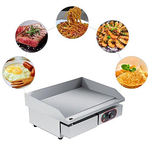 Elektrische Bratpfanne, kommerzieller elektrischer Grill Großer Edelstahl-Arbeitsplattengrill Grill-Kochplatte Teppanyaki-Tischgrill mit undichtem Ölloch und herausnehmbarer Ölschublade für das Küch