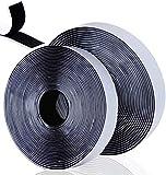 Belcro Adhesivo Fuerte, 8m Autoadhesivo Cara Cintas adhesivas de tela Reutilizable Tiras Hook y Loop Bandas para mosquitera ventana Oficina Doméstica Bricolaje, Negro 2 Rollos