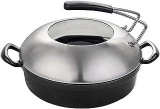 PENFU Pans Cast Iron Skillet with Lid Shallow Concave Wok Double Wide Handle Black 11.8inch Round Pans