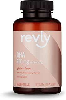 Amazon Brand - Revly DHA Omega 3 with Natural Strawberry Flavor - 60 Softgels, EPA & DHA Omega-3 fatty acids - 900 mg Per ...