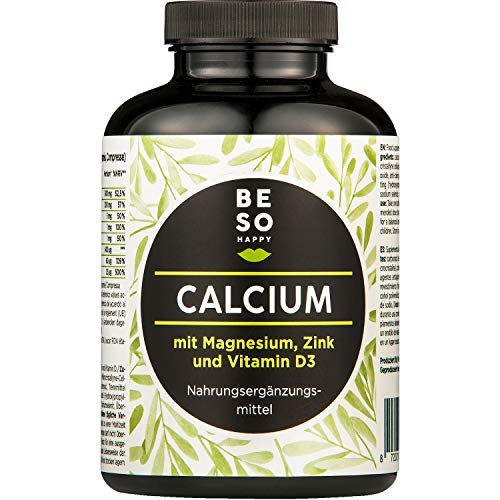 BeSoHappy® Calcio con Magnesio, Zinco e Vitamina D (180 compresse per 6 mesi di assunzione) - Di Alta Qualità - Adatto ai Vegetariani, Senza Glutine e Senza Lattosio