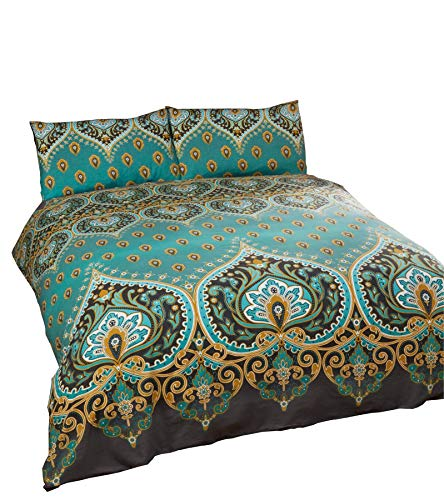 Indien Henna-Style Vert Mélange de Coton Bleu King Size ( Uni Gris Charbon Drap Housse - 152 X 200cm + 25) Uni Gris Charbon Femme au Foyer Taie D'Oreiller 6 Pièces Ensemble de Literie